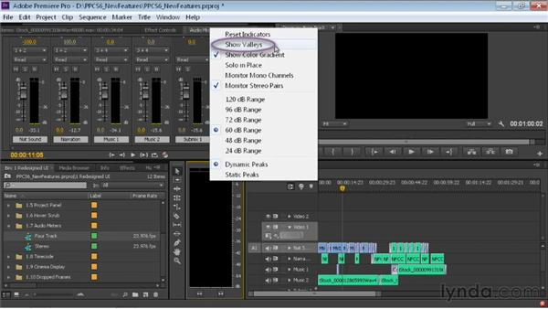 Working with the updated audio meters: Premiere Pro CS6 New Features