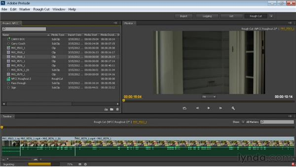 Creating a rough cut with Prelude: Premiere Pro CS6 New Features