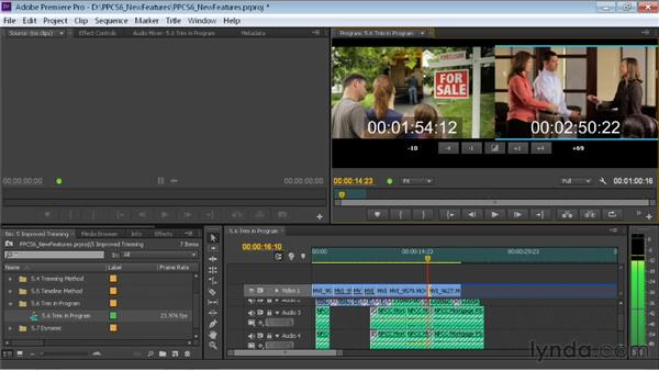 Trimming in the Trim Monitor panel: Premiere Pro CS6 New Features