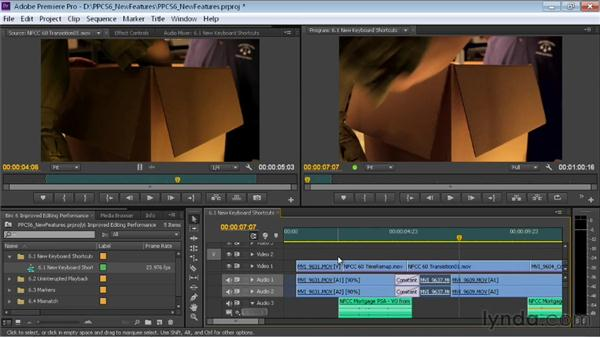 Using the new keyboard shortcuts: Premiere Pro CS6 New Features