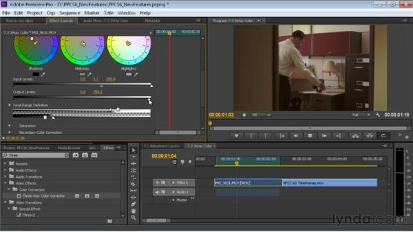 Using the more intuitive Three-Way Color Corrector: Premiere Pro CS6 New Features