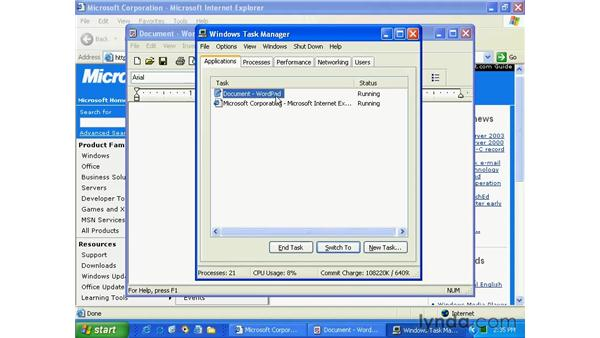 task manager: Windows XP Essential Training