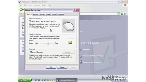 modifying mouse/keyboard: Windows XP Essential Training