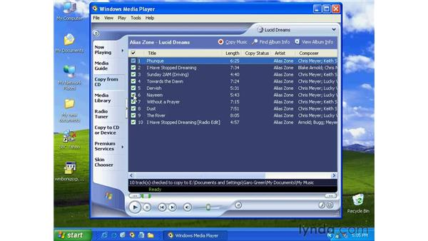 rip music from a CD: Windows XP Essential Training