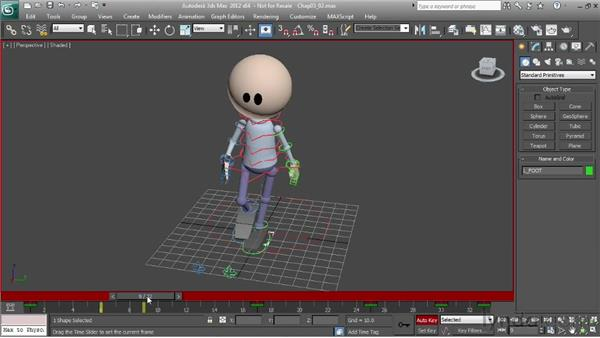 Changing a walk using foot placement: Character Animation: 3ds Max