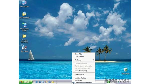 customize the taskbar: Windows XP Essential Training