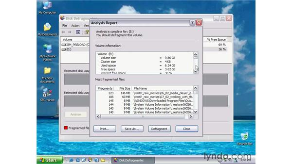disk defragmenter: Windows XP Essential Training