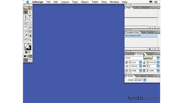 the work area: Learning InDesign 2