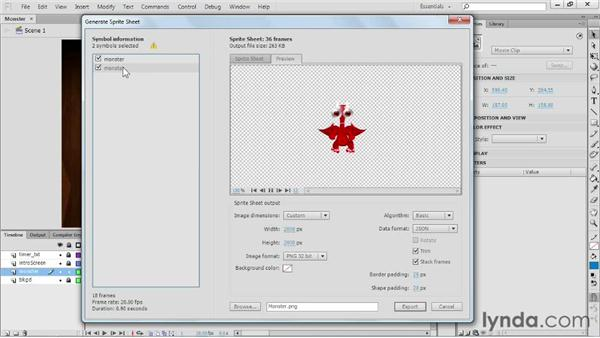 Generating sprite sheets from the Stage: Flash Professional CS6 New Features