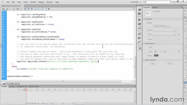 Using JSAPIs for exporting a sprite sheet: Flash Professional CS6 New Features