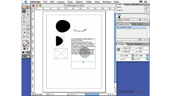 selection tools: Learning InDesign 2