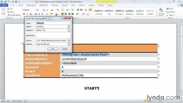 Adding building blocks and content controls: Building Templates in Word
