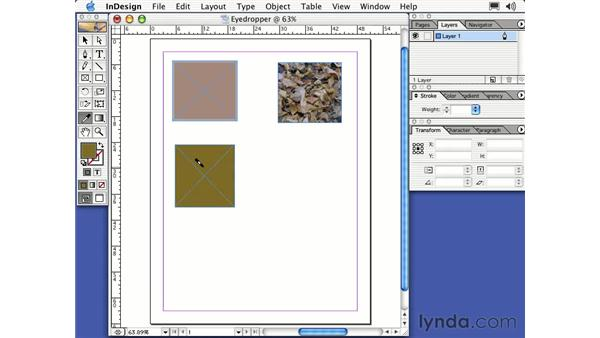 the eyedropper tool: Learning InDesign 2