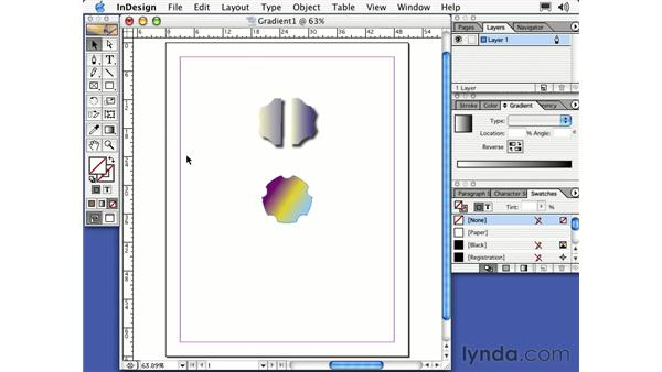 the gradient tool: Learning InDesign 2