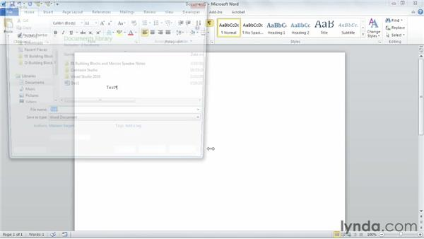 Saving macro-enabled documents and templates: Building Blocks and Macros in Word