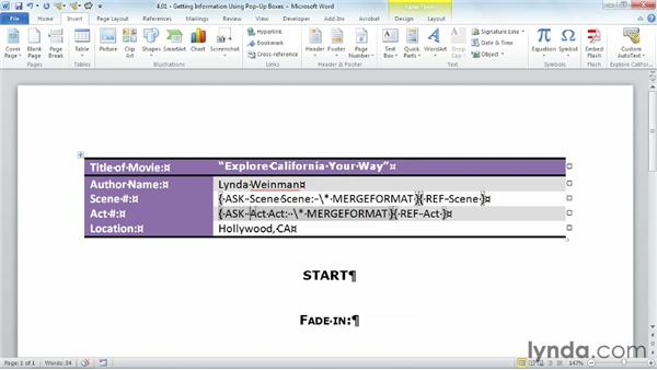 Gathering information using pop-up boxes: Building Blocks and Macros in Word