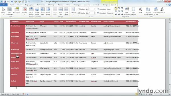 Using building blocks and macros together: Building Blocks and Macros in Word