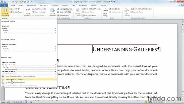 Employing macros and field codes: Building Blocks and Macros in Word
