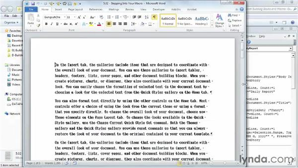 Stepping into your macro: Building Blocks and Macros in Word