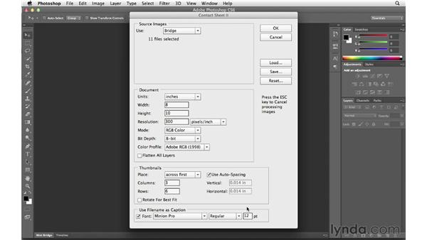 Creating a contact sheet in Bridge or Photoshop: Photoshop CS6 for Photographers New Features