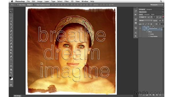 Using a shortcut to change the fill and opacity of a layer: Photoshop CS6 for Photographers New Features