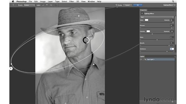Adding a light source with Lighting Effects: Photoshop CS6 for Photographers New Features