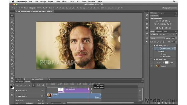 Adding typography and audio to a video project: Photoshop CS6 for Photographers New Features