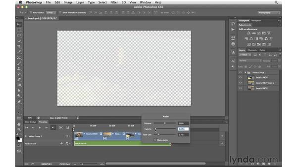 Adding audio and transitions and exporting the final project: Photoshop CS6 for Photographers New Features