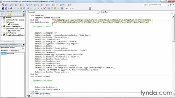Going beyond recording: writing VBA code: Building Blocks and Macros in Word