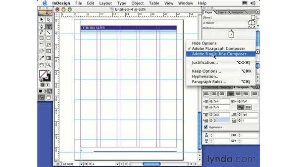 paragraph pallette: Learning InDesign 2