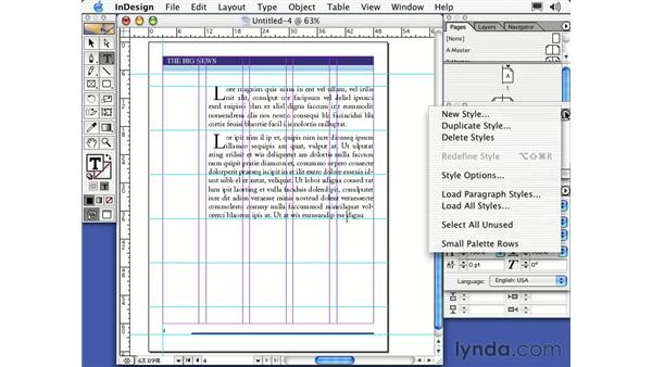 paragraph styles: Learning InDesign 2