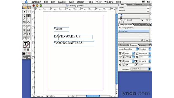 kerning type: Learning InDesign 2