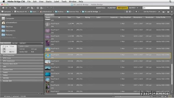 A tour of workspaces in Bridge: Photoshop CS6 Essential Training