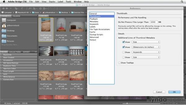 Customizing how thumbnails are displayed: Photoshop CS6 Essential Training