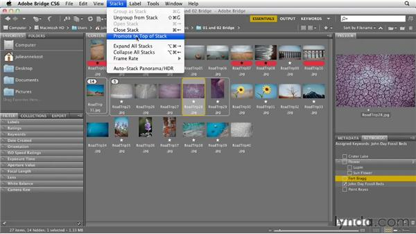 Organizing groups of images into stacks: Photoshop CS6 Essential Training