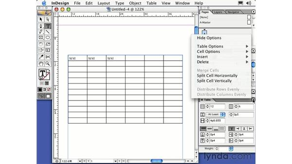 creating a table: Learning InDesign 2