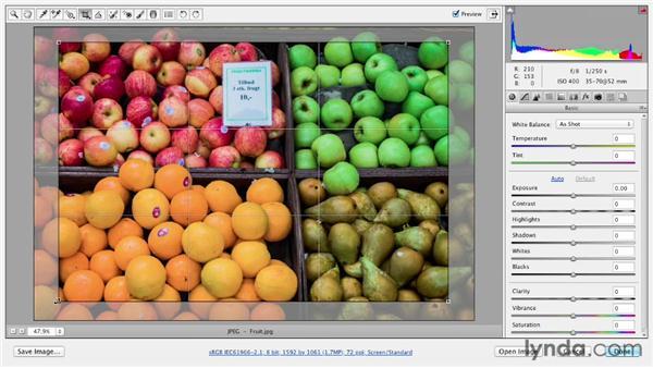Using the nondestructive Crop tool: Photoshop CS6 Essential Training