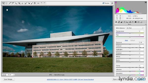 Correcting a horizon line with the Straighten tool: Photoshop CS6 Essential Training