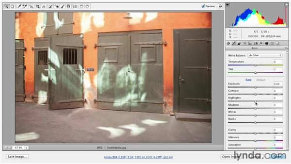 Fixing blown-out highlights: Photoshop CS6 Essential Training