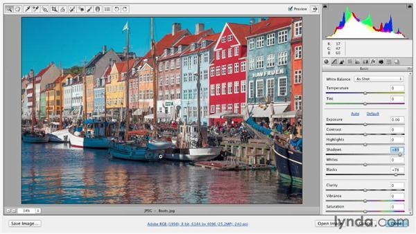 Revealing hidden shadow details: Photoshop CS6 Essential Training