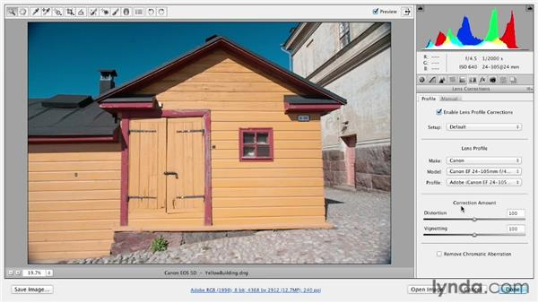 Correcting lens distortion: Photoshop CS6 Essential Training