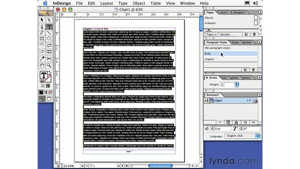 the book or book file: Learning InDesign 2