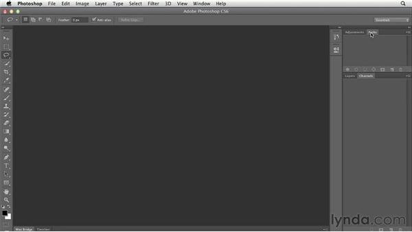 Switching and saving workspaces: Photoshop CS6 Essential Training