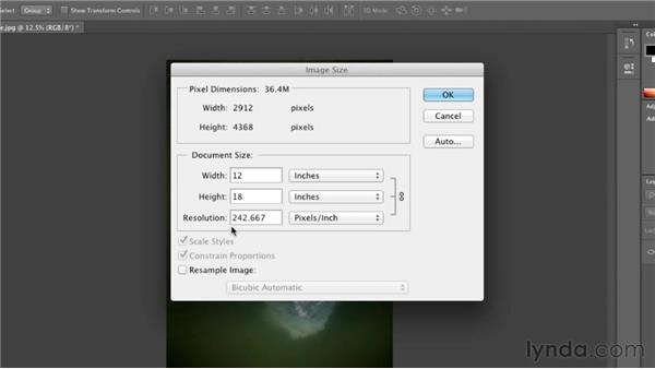 Working with print sizes and resolution: Photoshop CS6 Essential Training