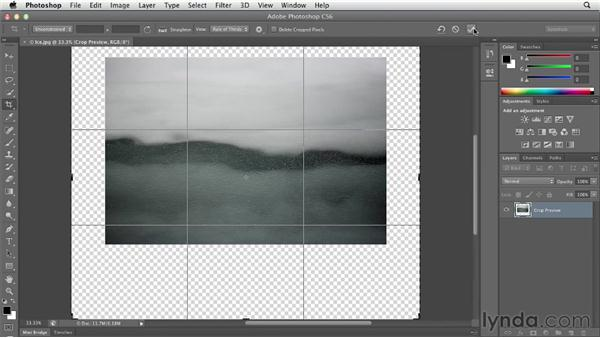 Making the canvas bigger with the Crop tool: Photoshop CS6 Essential Training