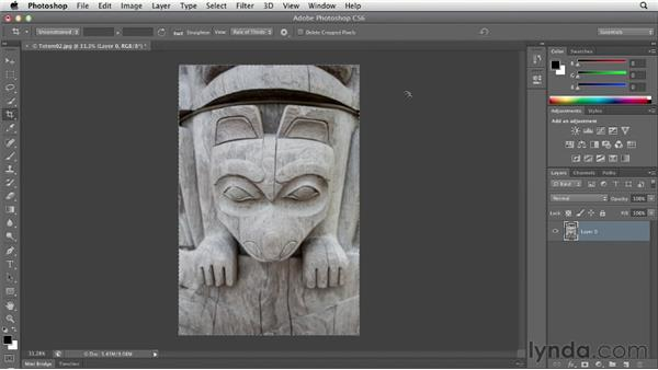 Straightening a crooked image: Photoshop CS6 Essential Training
