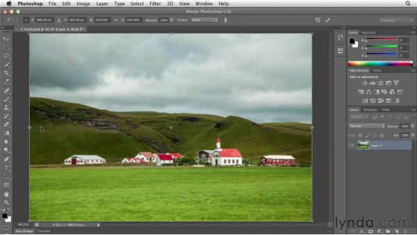 Preserving important elements with Content-Aware Scale: Photoshop CS6 Essential Training