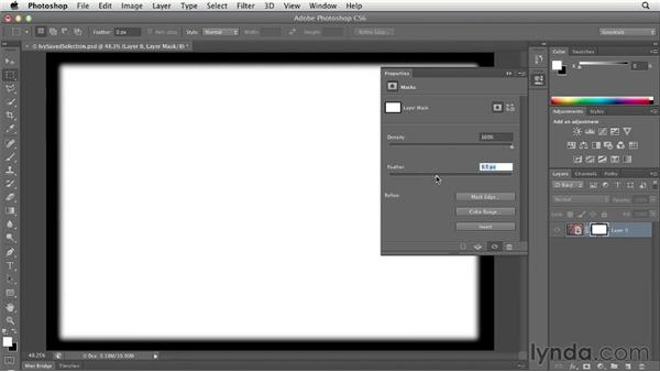 Converting a selection into a layer mask: Photoshop CS6 Essential Training