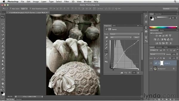 Increasing midtone contrast with Curves: Photoshop CS6 Essential Training
