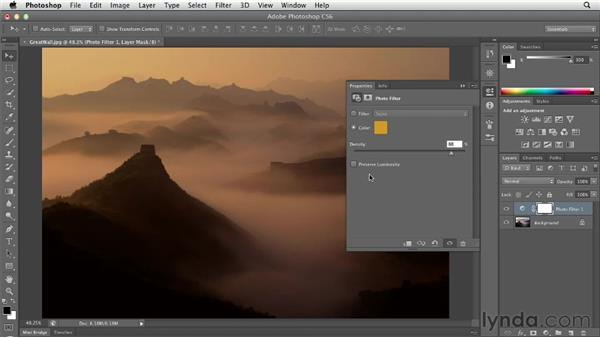 Changing the color temperature with Photo Filter: Photoshop CS6 Essential Training